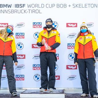 Kim Kalicki (SV Halle/Wiebaden) auf Platz 3 beim Weltcup in Innsbruck-Igls