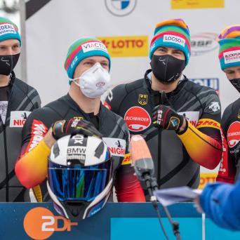 Thorsten Margis und Alexander Schüller beim Weltcup-Sieg am Königssee