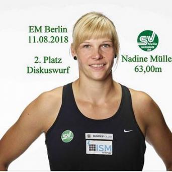 Nadine Müller holt Silbermedaille im Diskuswerfen bei der EM 2018 in Berlin