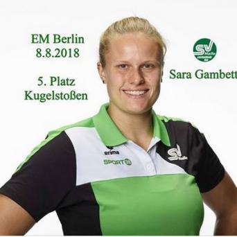 Sara Gambetta belegt mit Saisonbestleistung Platz 5 bei der EM in Berlin 2018